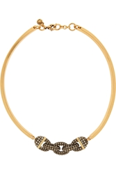 J.Crew Chain Bar Gold Tone Crystal Necklace