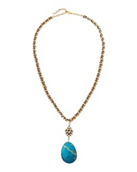 Blossom Box Woven Chain Turquoise Pendant Necklace