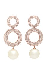 Joanna Laura Constantine Grommets Gold Plated Brass Cubic Zirconia And Pearl Earrings