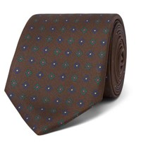 Drakes 8Cm Printed Silk Tie Brown