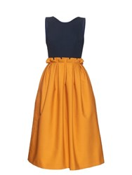 Mother Of Pearl Lola Tie Back Sleeveless Midi Dress Yellow Navy