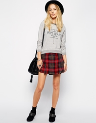 Pepe Jeans Checked Mini Skirt Red