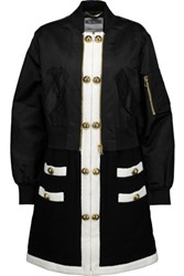 Moschino Paneled Wool Blend And Gabardine Coat Black