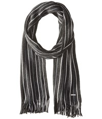Michael Michael Kors Pin Striped Raschel Muffler Charcoal Heather Ash Scarves Gray