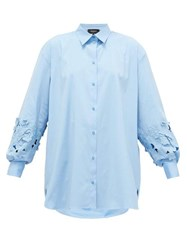 Rochas Floral Embroidered Sleeve Cotton Poplin Shirt Blue