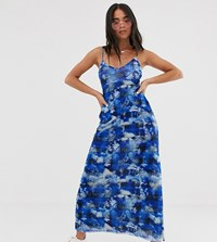 Reclaimed Vintage Inspired Midi Dress In Tie Dye Check Mesh Blue