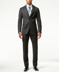 Dkny Men's Black Plaid Slim Fit Suit