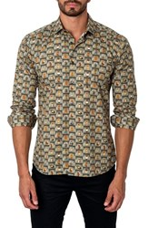 Jared Lang Men's Trim Fit Owl Print Sport Shirt