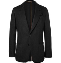 Berluti Slim Fit Herringbone Wool And Alpaca Blend Blazer Black