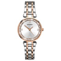 Sekonda 2541.27 Women's Crystal Two Tone Bracelet Strap Watch Silver Rose Gold