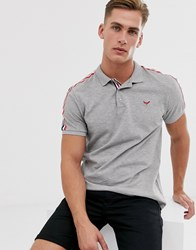 Threadbare Polo With Taping In Grey
