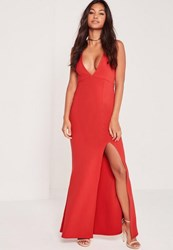 Missguided Plunge Split Front Slinky Maxi Dress Red