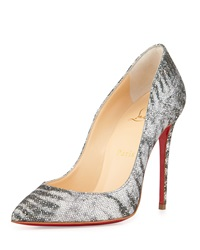 Christian Louboutin Pigalle Follies Striped Glitter Red Sole Pump