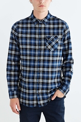 The Narrows Side Zip Flannel Button Down Shirt Navy