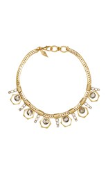 Nicole Romano 18K Gold Plated Bolt And Stacked Crystal Necklace Black