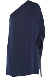 Halston Heritage One Shoulder Satin Trimmed Crepe Mini Dress Navy