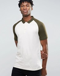 Asos Contrast Raglan Polo Shirt In Off White And Green Off White Avo Green