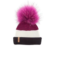 Bklyn Women's Merino Wool Hat With Fuchsia Pink Pom Pom Black White Wine