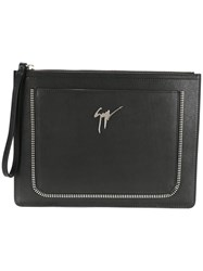 Giuseppe Zanotti Design Zip Trim Clutch Black