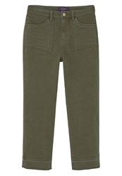 Mango Violeta By Bruna Straight Leg Jeans Khaki Dark Green