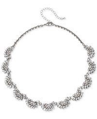Jewel Badgley Mischka Silver Tone Crystal And Imitation Pearl Collar Necklace 16 3 Extender
