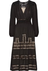 Haute Hippie The Step Pleated Embroidered Tulle And Silk Crepe De Chine Midi Dress Black