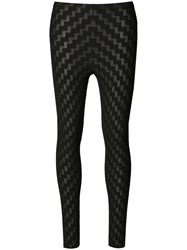 Issey Miyake Pleats Please By Stepped Pattern Leggings Black