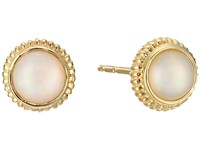 Shinola Detroit 14K Yellow Gold Coin Edge Studs W Opal Earrings