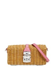 Miu Miu Madras Leather And Wicker Shoulder Bag Beige Rosa