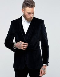 Hart Hollywood By Nick Slim Suit Jacket In Velvet With Shawl Black
