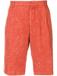 Etro Paisley Chino Shorts Yellow And Orange