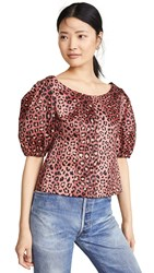 Rebecca Taylor Short Sleeve Leopard Top Henna