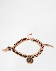 Asos Bracelet Pack With Charms In Black And Copper Black