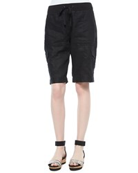 Eileen Fisher Drawstring Cargo Linen Shorts Women's Black
