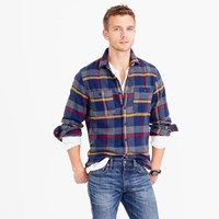 J.Crew Wallace And Barnes Heavyweight Flannel Shirt In Multicolor Plaid