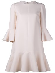 Valentino Crepe Couture Mini Dress Nude Neutrals