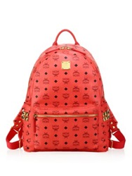 Mcm Stark Side Studded Coated Canvas Monogram Backpack Bright Red
