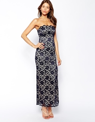 Elise Ryan Lace Bandeau Maxi Dress With Thigh Split Navynude