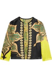 Etro Reversible Printed Crinkled Satin Jacket Black