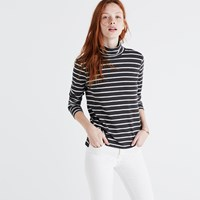 Madewell Whisper Cotton Turtleneck In Freddie Stripe Dark Metal