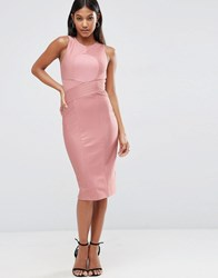 Asos Bandage High Neck Midi Bodycon Dress Nude Pink