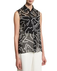 Alexander Wang Graphite Sleeveless Button Front Blouse Black White Black White