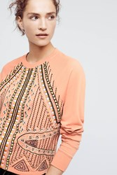 Anthropologie Beaded Rose Sweatshirt Pink