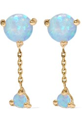 Wwake Two Step 14 Karat Gold Opal Earrings One Size
