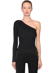 Red Valentino Ribbed One Shoulder Cotton T Shirt Black
