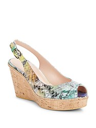 Stuart Weitzman Excise Reptile Print Leather And Cork Wedge Sandals Multi