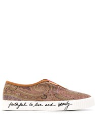 Etro Paisley Slip On Sneakers Brown