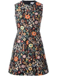 Red Valentino Floral Embroidery A Line Dress Black