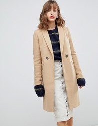 Stradivarius Double Button Mid Length Coat Beige