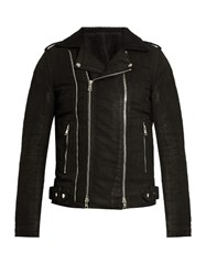 Balmain Coated Cotton Biker Jacket Black